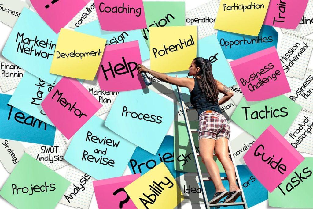 Blog Möglichkeiten - Wand mit Post-Its und junger Erwachsenen