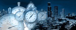 Zeitmanagement verbessern - Bild von Uhren und einer Stadt